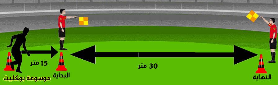 إختبار العدو 30 متر من الإقتراب 15 متر